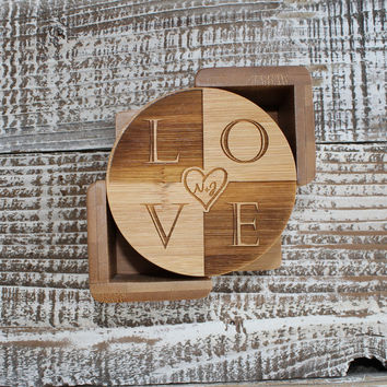Custom Personalized LOVE Engraved Wood Coasters