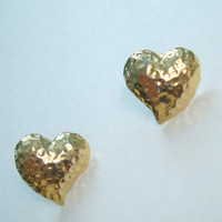 Avon Hammered Goldtone Heart Earrings Post Style Vintage Jewelry