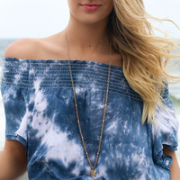 Navio Beach Tye Dye Off The Shoulder Crop Top
