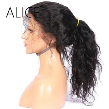ALICE Pre Plucked 360 Lace Frontal Wig With Baby Hair Long Ponytail 10-24'' Remy Hair Brazilian Human Hair Wigs For Black Women