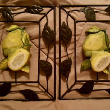 Metal Frame Lemon Design Wall Decor, Kitchen Wall Decor