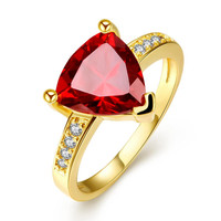 Gold Plated Triangular Ruby Classic Ring