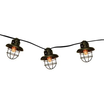 Set of 10 Black Metal Caged Fisherman Lantern Summer Garden Patio Lights - Black Wire