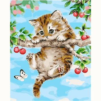 Naughty Cat Lovely Picture Painting Cartoon DIY Painting By Numbers Modern Wall Art Acrylic Picture Hand painted Children Gift