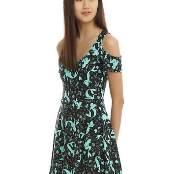 Disney The Little Mermaid Ariel Silhouette Cold Shoulder Dress