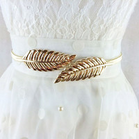 Metal Leaf Waist Belt