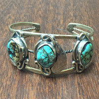 Navajo Sterling Silver and Turquoise Cuff Bracelet | Native American Indian Boho Tribal Ethnic Jewelry | Turquoise Cuff | Turquoise Bracelet