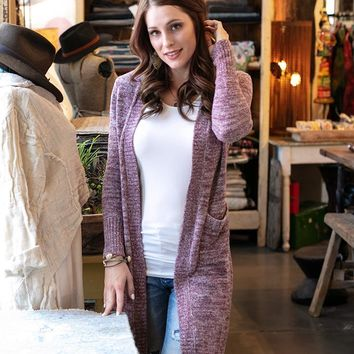 Grace & Lace Lush Bamboo Duster Cardigan (Heather Wine)