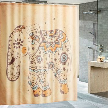 70'' Mandala Elephant Design Polyester Shower Curtain Panel Sheer Bathroom Decor
