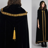 Vtg 70s Black Velvet Ethnic Medieval Goth Gypsy by theindustry