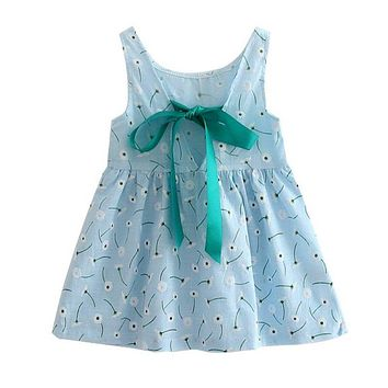Girl Summer Dress Kids Teens Sleeves Printing Pattern Cotton Dress Clothes Vestidos Children Kids