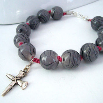 Long Bracelet, Christian Bracelet for Women, Cross Jewelry, Black and Grey Beads