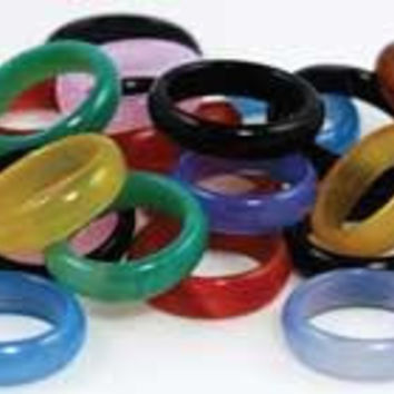 6mm Rounded Agate Rings 20-bag