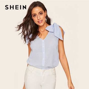 SHEIN Blue Casual Bow Knot Shoulder Button Up Striped Women Blouse Summer Boho V Neck Sleeveless Womens Tops And Blouses