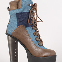 Denim and Leatherette Lace Up Platform Bootie