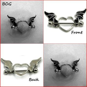 ac PEAPO2Q BOG-Pair 316L Surgical Steel Bat Wing Ring Shield Piercing  Body Jewelry