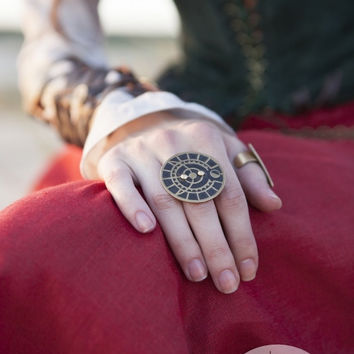 "Steampunk Ring ""The Alchemists daughter""; brass ring; fantasy ring; magic ring"