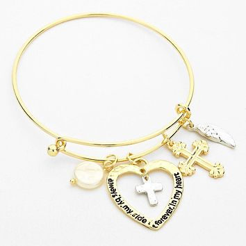 Gold Cross and Heart Bangle Bracelet