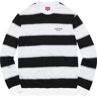 Supreme: Striped Twill Crewneck - White