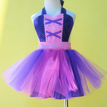 kids apron RAPUNZEL dress up  TUTU kids apron for girls fun for special occasion or birthday party dress up costume