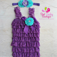 Purple petti lace romper and headband 3 pc SET, Baby girl 1st birthday outfit, Under the Sea Birthday, Baby romper, Cake Smash Outfit