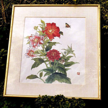 Vintage High End Asian Watercolor On Silk Signed Matted in Gallery Frame Chrysanthemum Bouquet in Red Pink White w/ Yellow Orange Butterfly