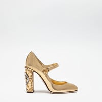 Pumps and mary janes shoes, women's footwear | Dolce&Gabbana - LAMINATED LEATHER MARY JANES WITH JEWEL HEELS