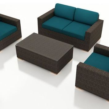 2016 All Weather Living Room 4 Piece Wicker Furniture Sectional Set