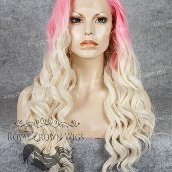 """24"""" Synthetic Lace Front with Wave Texture in Pink Root to White Blonde Ombre"""