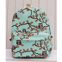 MP Owls in The Trees Print Canvas Blue School Bag Backpack 042344 BDP 0528