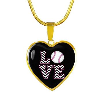 Love Baseball Heart Shaped Pendant And Necklace