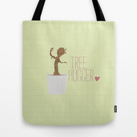 groot.. guardians.. tree hugger.. humor Tote Bag by Studiomarshallarts