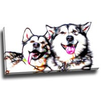 Husky and Friend Canvas Wall Art Print