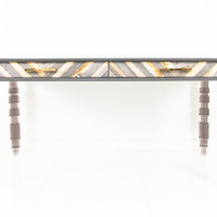 Desk with natural wood Dark grey with Smoked Lucite