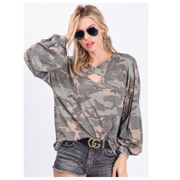 Caged Neck Camouflage Balloon Sleeve Top
