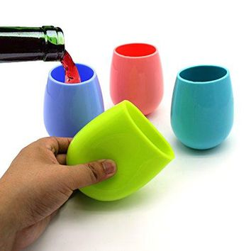 VACTER Silicone Wine Glasses Unbreakable Shatterproof Rubber Cups for BBQ Outdoor Party Camping Traveling Set of 4