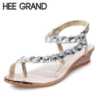 2016 Summer Style Sandals Bling Rhinestone Flats Women Platform Wedges Sandals Fashion Flip Flops Comfortable Shoes Woman XWZ791