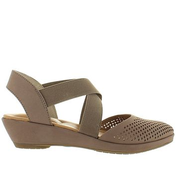 Me Too Nita - Rosewood Leather Elasticized Crisscross Wedge Sandal