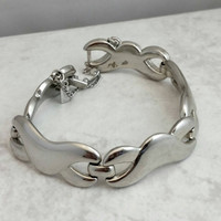Vintage Silvertone Monet Modernist Link Chain Bracelet - Boho Retro Chic / Art Deco / Stylish / Eye Catching / Unique