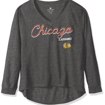 NHL Chicago Blackhawks Women's Caroline Matinee Tee, Charcoal, Large