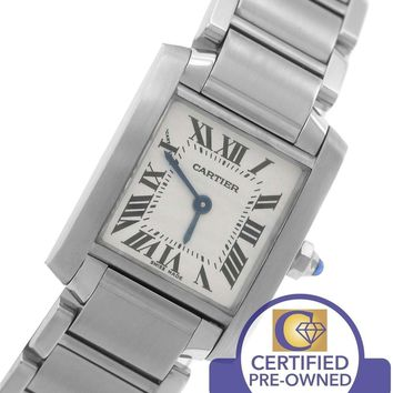 Ladies Cartier Tank Francaise Stainless Roman Swiss Quartz Watch 2384 W51008Q3