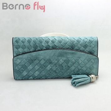 Berno fly Fashion Knitting lady purse tassel women wallet long Hlasp female money bag brand lady wallet clutch Carteira Feminino