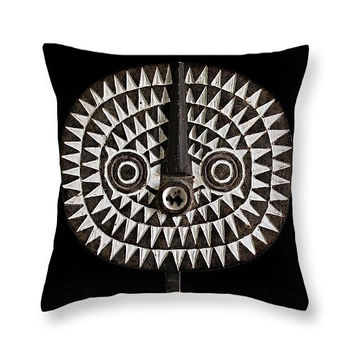 Throw Pillow — Portrait of Bobo-Bwa Sun Mask / Ethnographic Art Image Series / Tribal Art–African Art