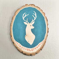 Wood Wall Art, Deer Silhouette Painting on Bass Wood Slice, Wood Wall Decor, Wood Wall Hanging