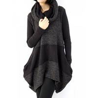 Casual Round Neck Long Sleeve Color Block Asymmetrical Women's Sweater