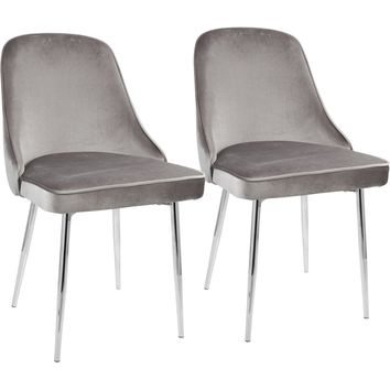 Marcel Contemporary Dining Chairs with Silver Velvet, Chrome (Set of 2)