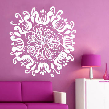 Mandala Wall Decal Lotus Decals Boho Vinyl Sticker Meditation Room Decor DS454