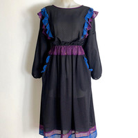 DIANE FREIS!!! Vintage 1980s tri colour 'Diane Freis' dot and floral glitter print dress with pockets and ruffle trims