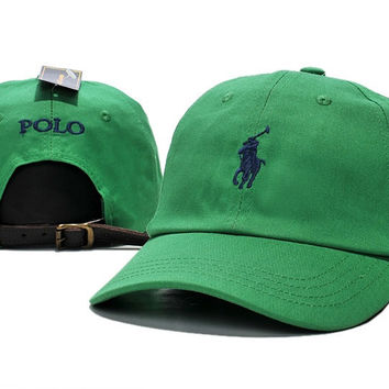 Unisex Green POLO Embroidered Baseball Cap Hat