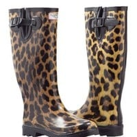 Amazon.com: Women's Leopard Design Flat Wellies Rubber Rain & Snow Boots RainBoots: Shoes